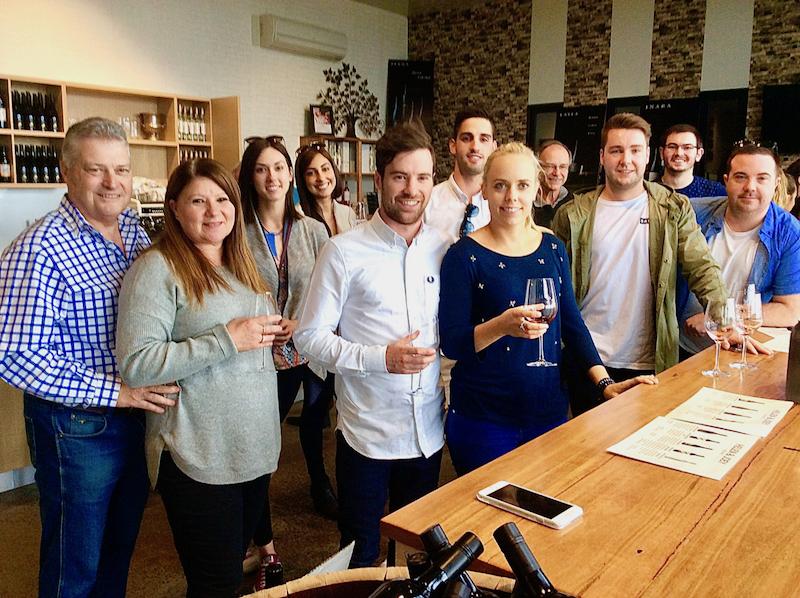 Group wine tasting at Helen & Joeys cellar door